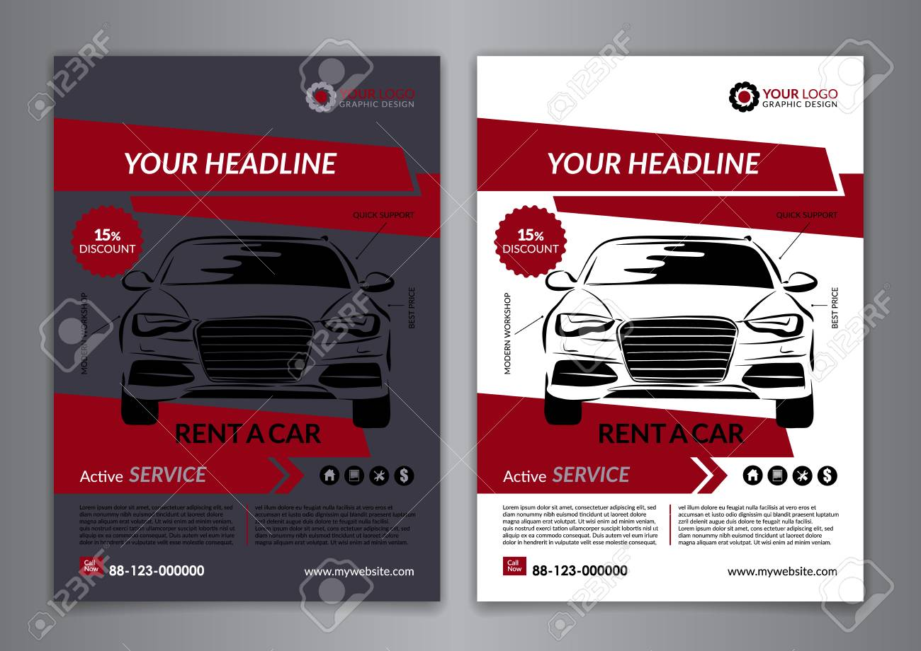 Set A5, A4 Rent A Car Business Flyer Template. Auto Service Brochure  Templates,  Car Flyer Template