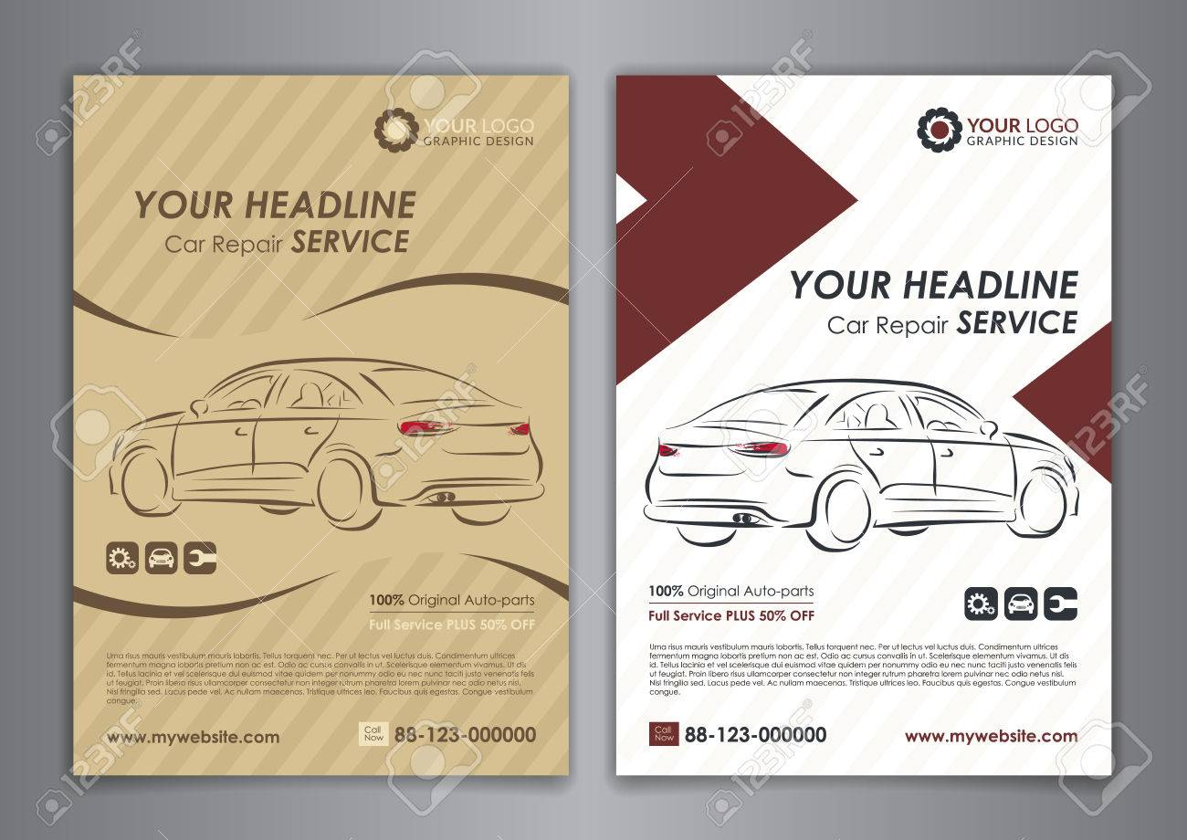 A5 A4 Set Car Repair Service Business Layout Templates Automobile Royalty Free Cliparts Vectors And Stock Illustration Image 68546146
