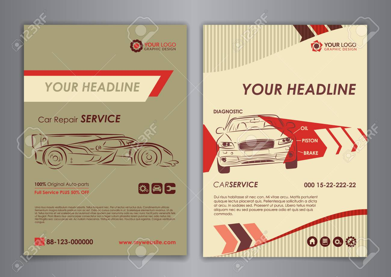 auto repair brochure templates mockup flyer abstract arrow