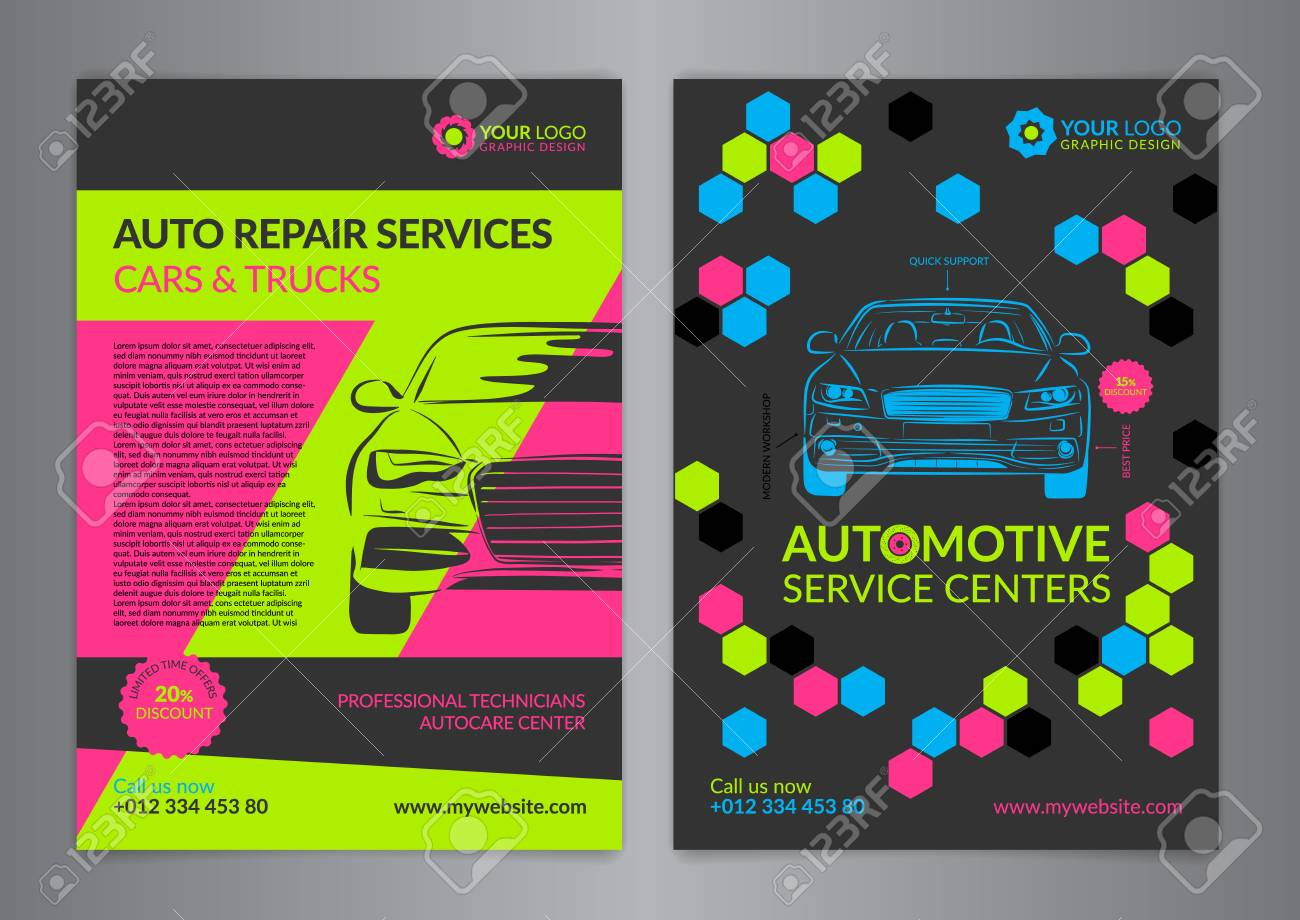 Set Automotive Service Centers Business Layout Templates A4 Royalty Free Cliparts Vectors And Stock Illustration Image 69327716