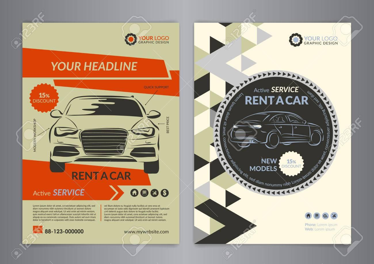 Autovermietung Business-Flyer Vorlage. Auto-Service-Broschüre ...