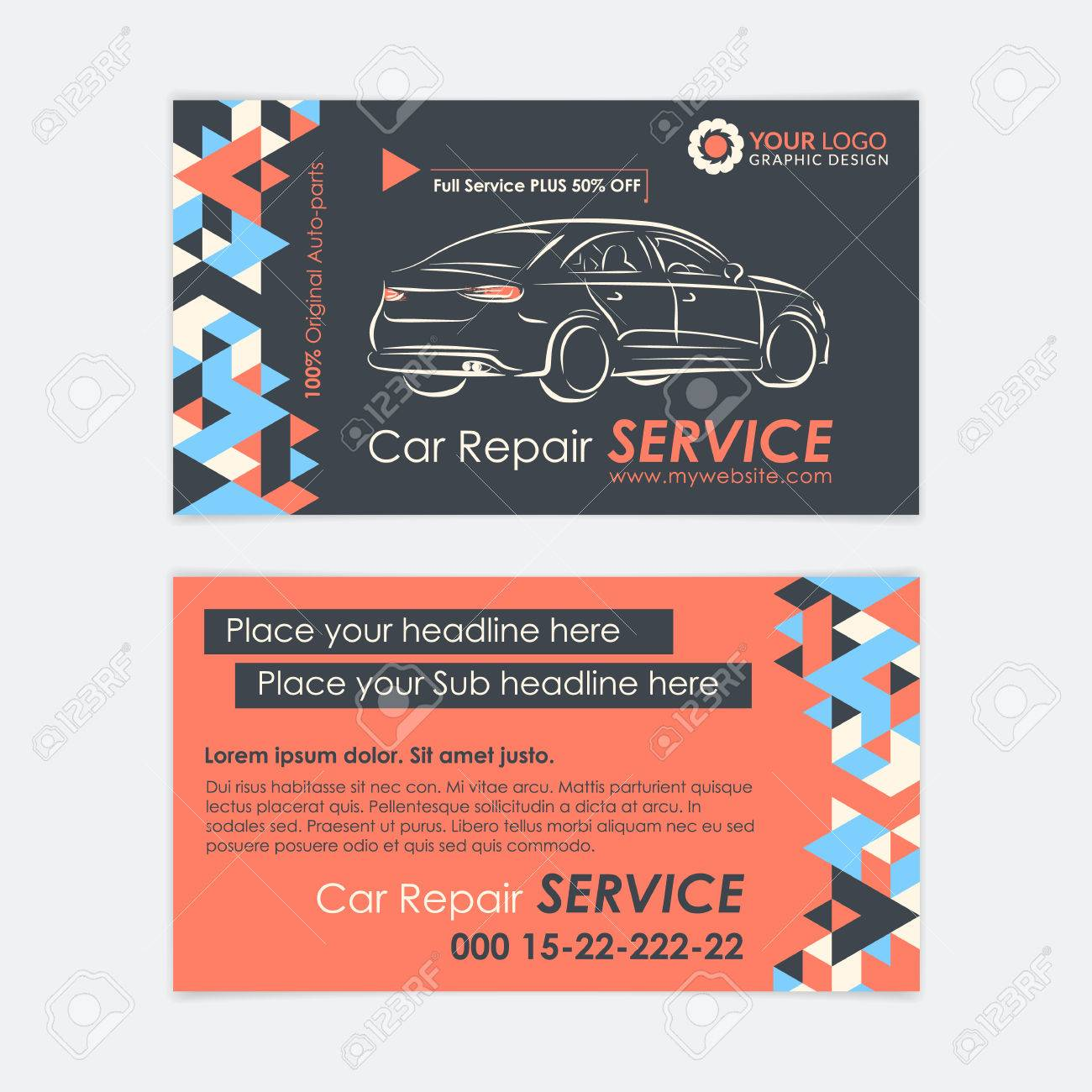 Automotive Service Modele De Carte Visite Diagnostic Auto Et Reparation Transport Creez