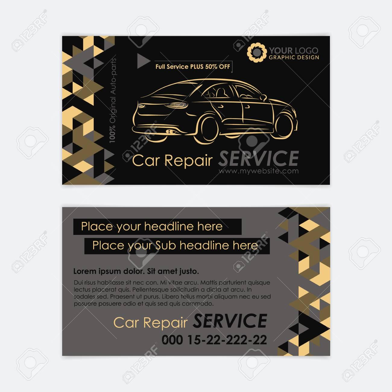 Modele De Carte Visite Automobile Diagnostic Voitures Et Reparation Transport Creez Vos Propres Cartes Illustration