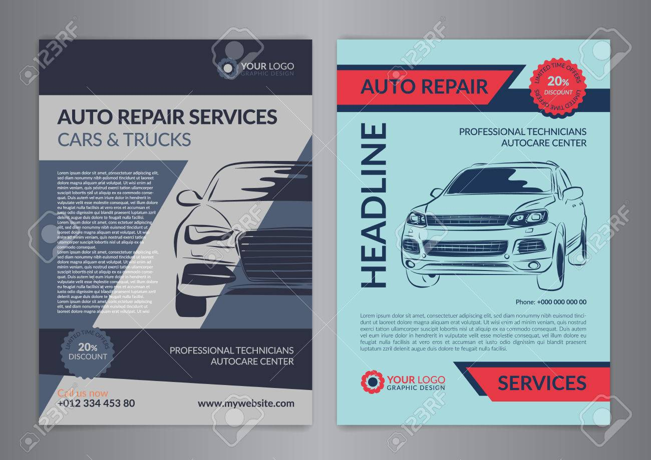 Set Auto Repair Business Layout Templates, Automobile Magazine ...