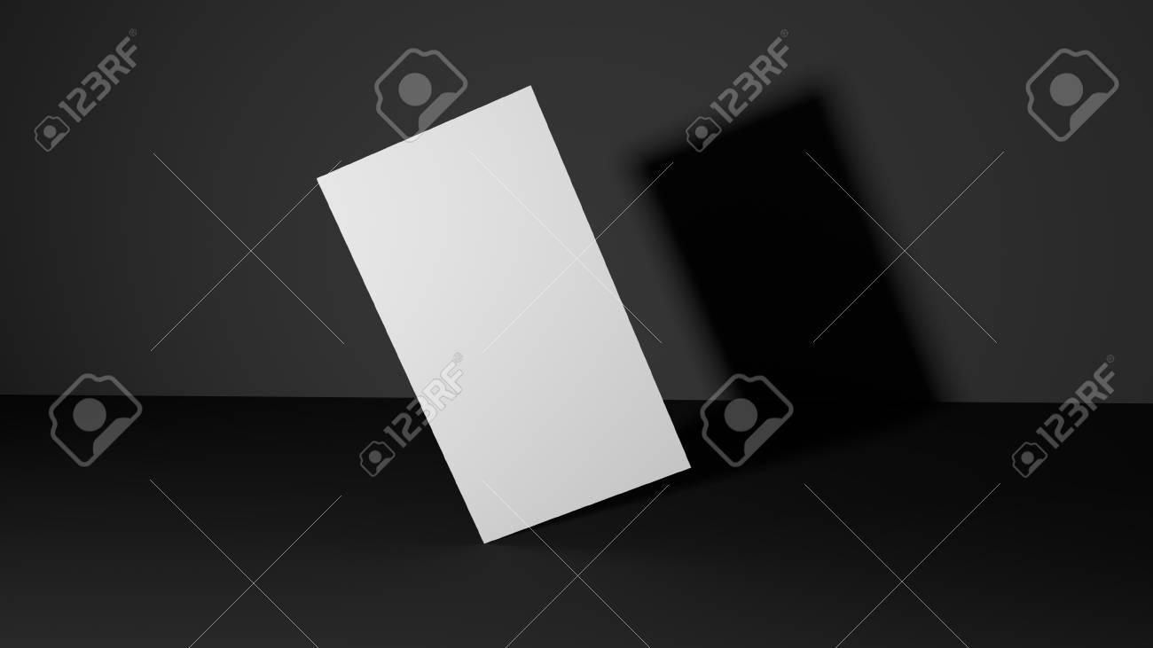 White Business Card On Dark Background. High Resolution 3d Render ...