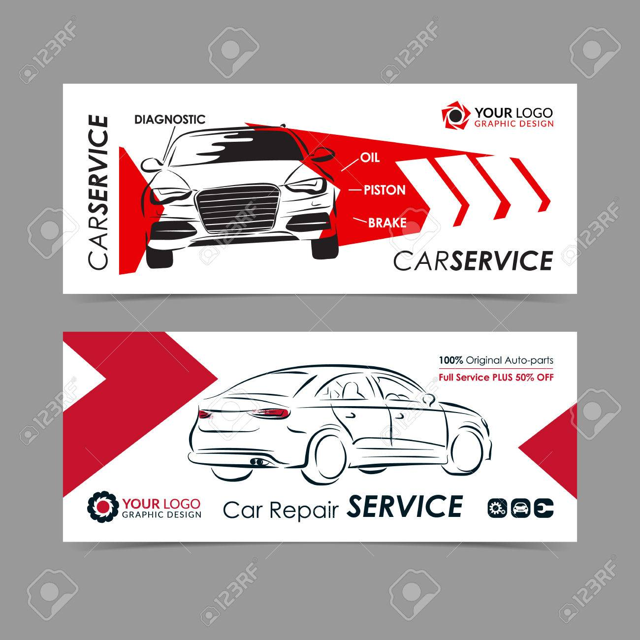 Set Of Auto Repair Service Banner Poster Flyer Car Service Royalty Free Cliparts Vectors And Stock Illustration Image 72576191