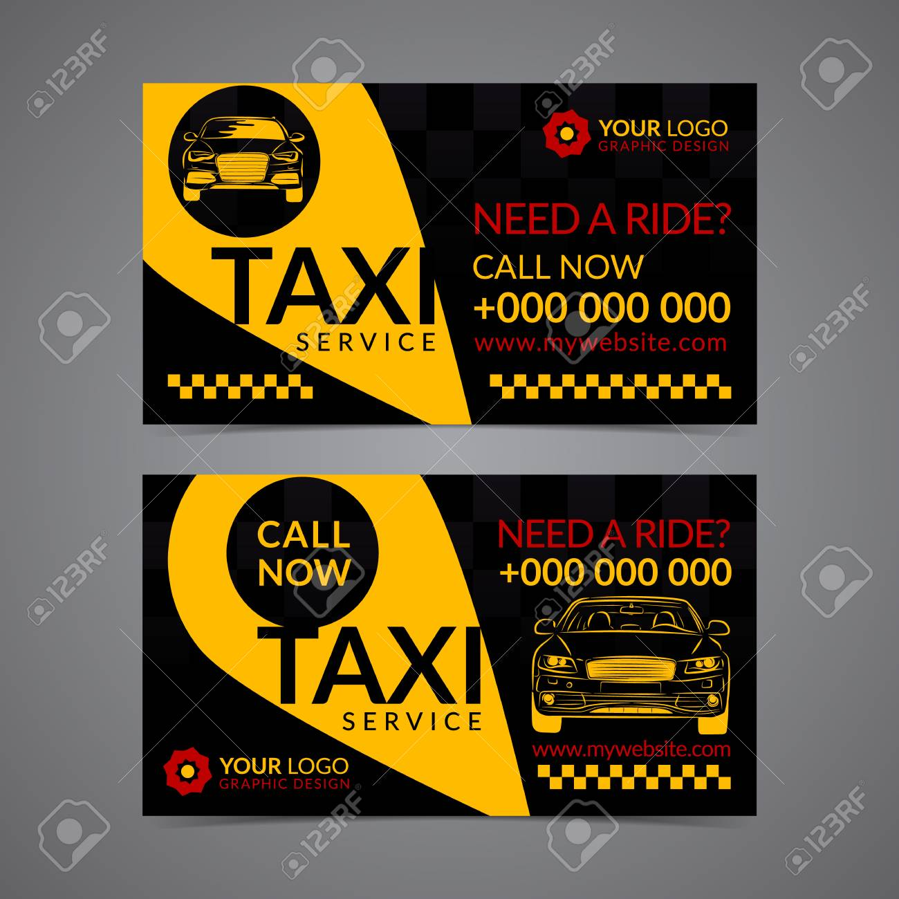 Taxi Pickup Service Business Card Layout Template. Create Your ...