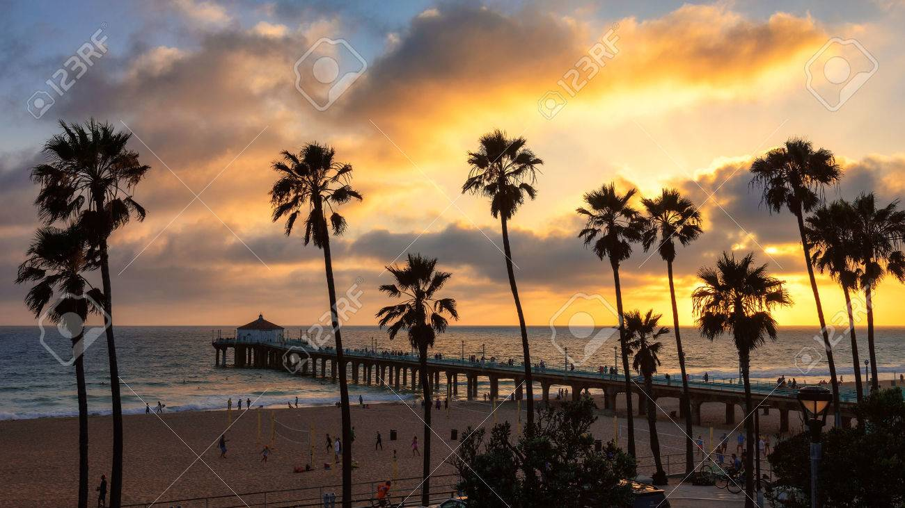 Sunset at Manhattan Beach and Pier in Southern California, Los Angeles. - 45515933