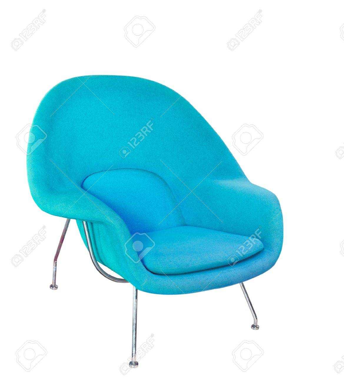 Moderne Fauteuil Wit.Blue Moderne Fauteuil Op Wit Wordt Geisoleerd