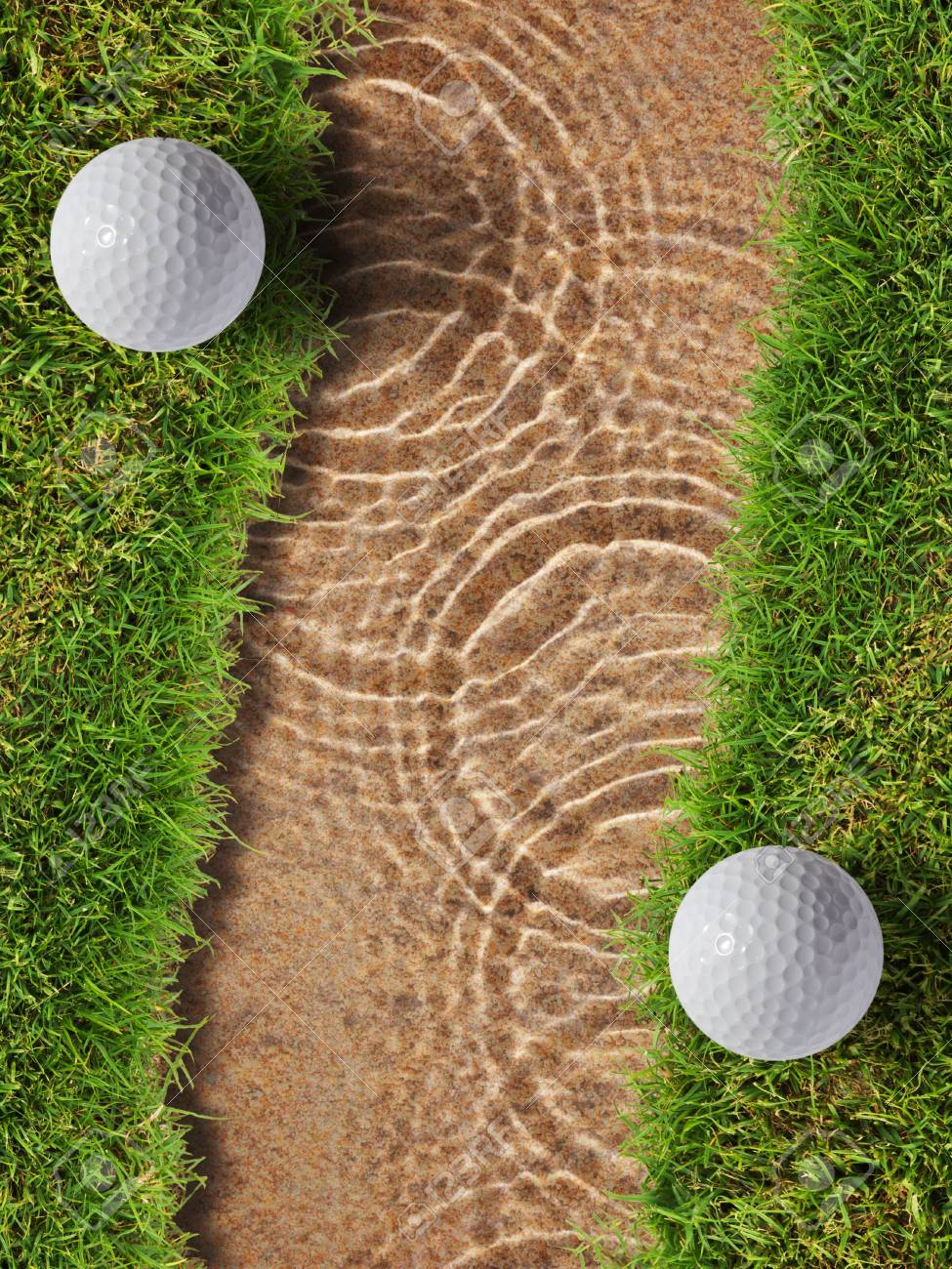Two golf ball on fresh green grass near water bunker in golf course Stock Photo - 12734883