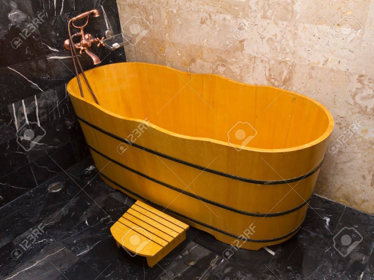 Wooden Bathtub In A Bathroom Stock Photo Picture And Royalty Free Image Image 13920237