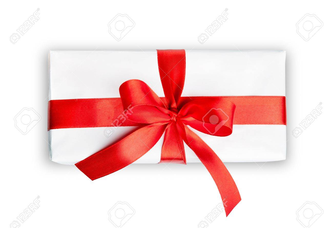 the white box with a red ribbon and bow isolated Stock Photo - 10668037