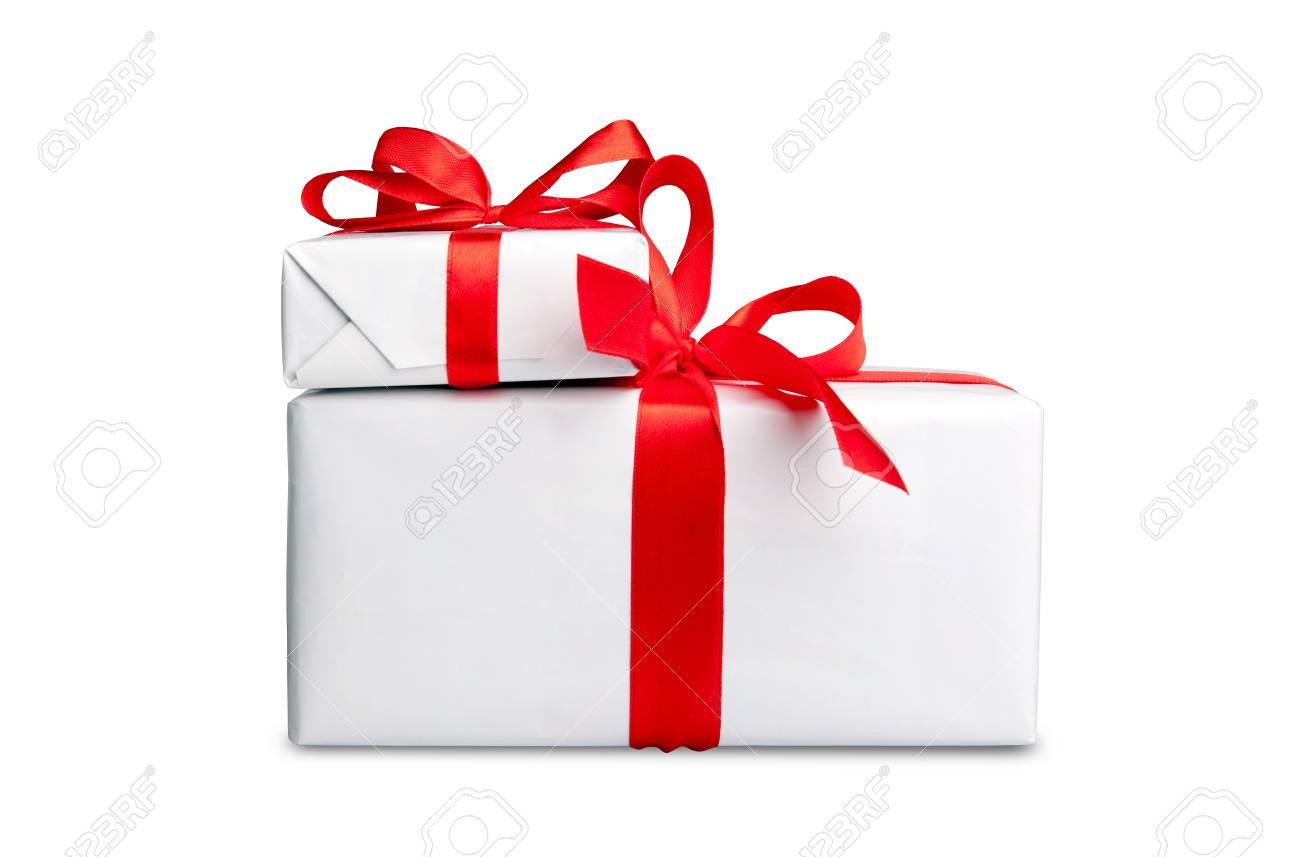 the white box with a red ribbon and bow isolated Stock Photo - 10668033