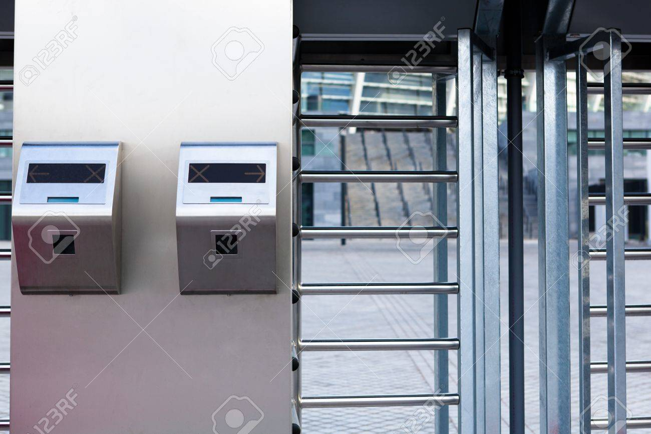 This is closeup of security turnstile on stadium Stock Photo - 12536928