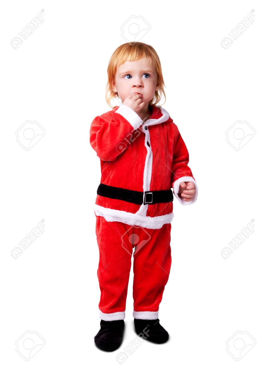 Portrait of little cute baby in red suite of Santa  isolated over white Stock Photo - 12470883