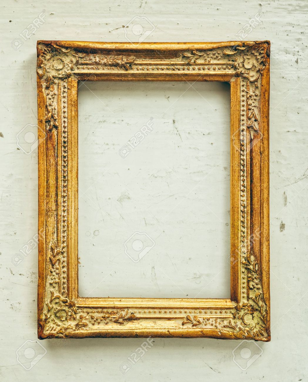 Golden Old Frame On The Grunge Background Stock Photo, Picture And ...