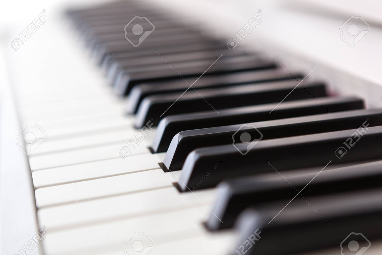 Close up of black and white piano keys  Shallow deep of field