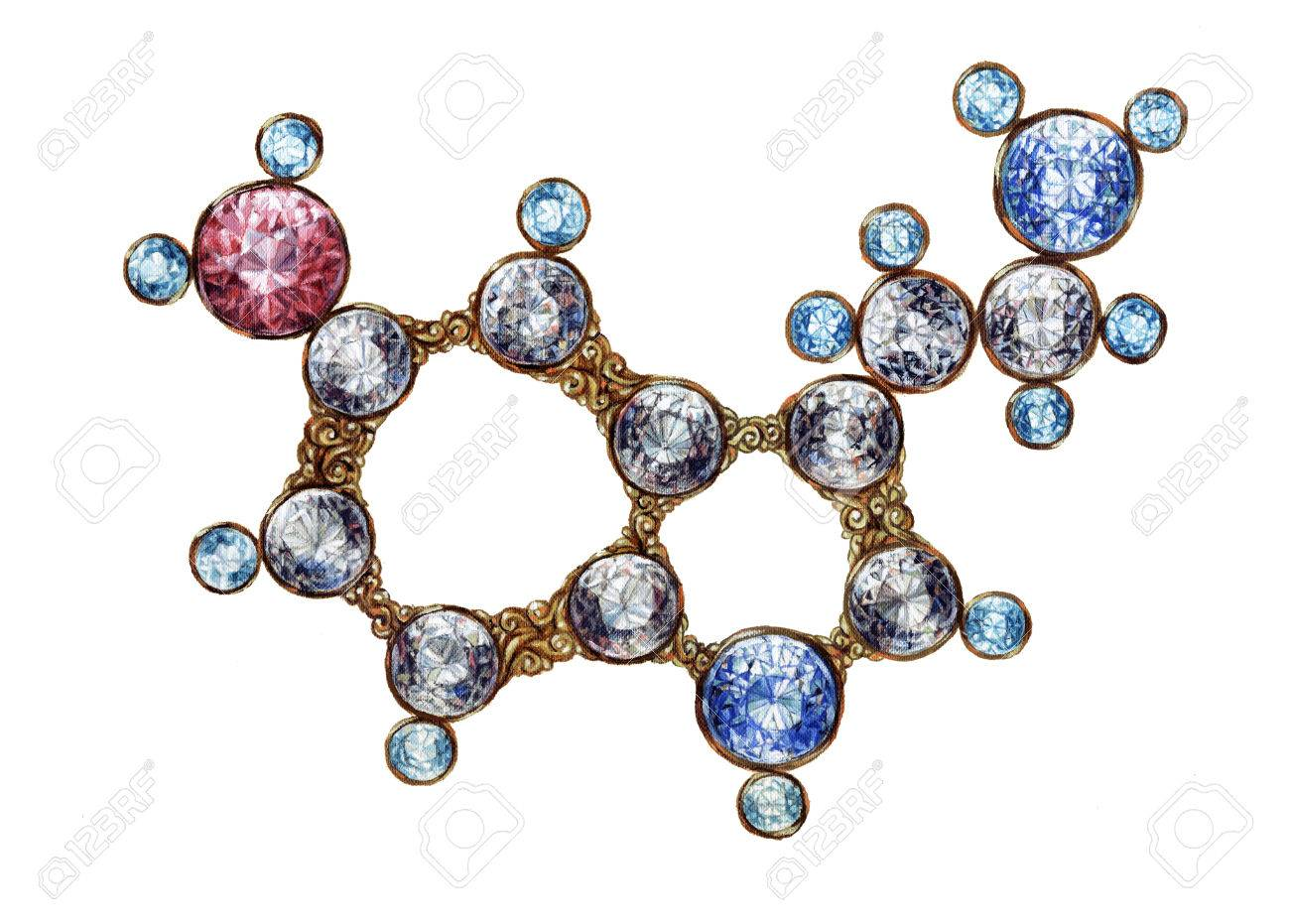 golden serotonin molecule molecular structure with shining gemstones