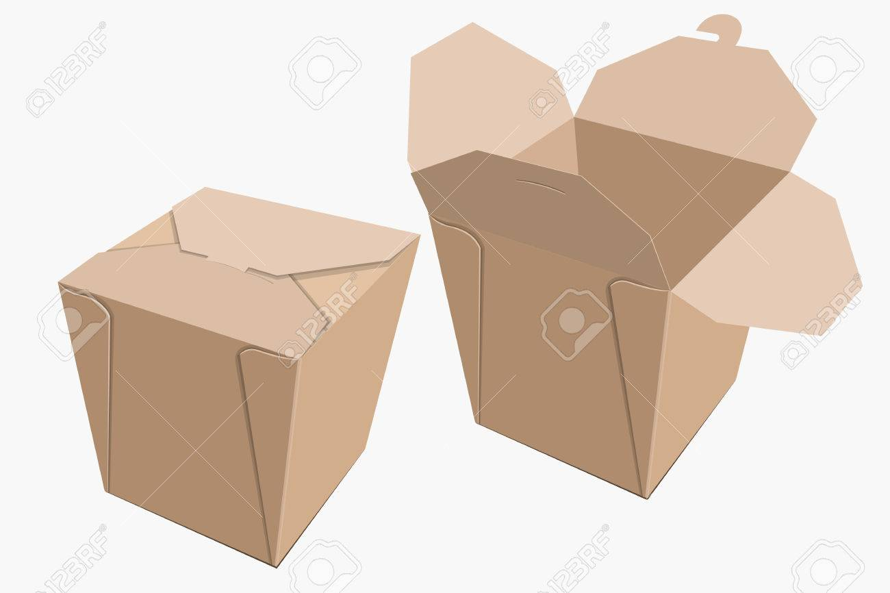 Beige Paper Container Of Chinese Food. Storage Box Delivery. Vector  Illustration Stock Vector