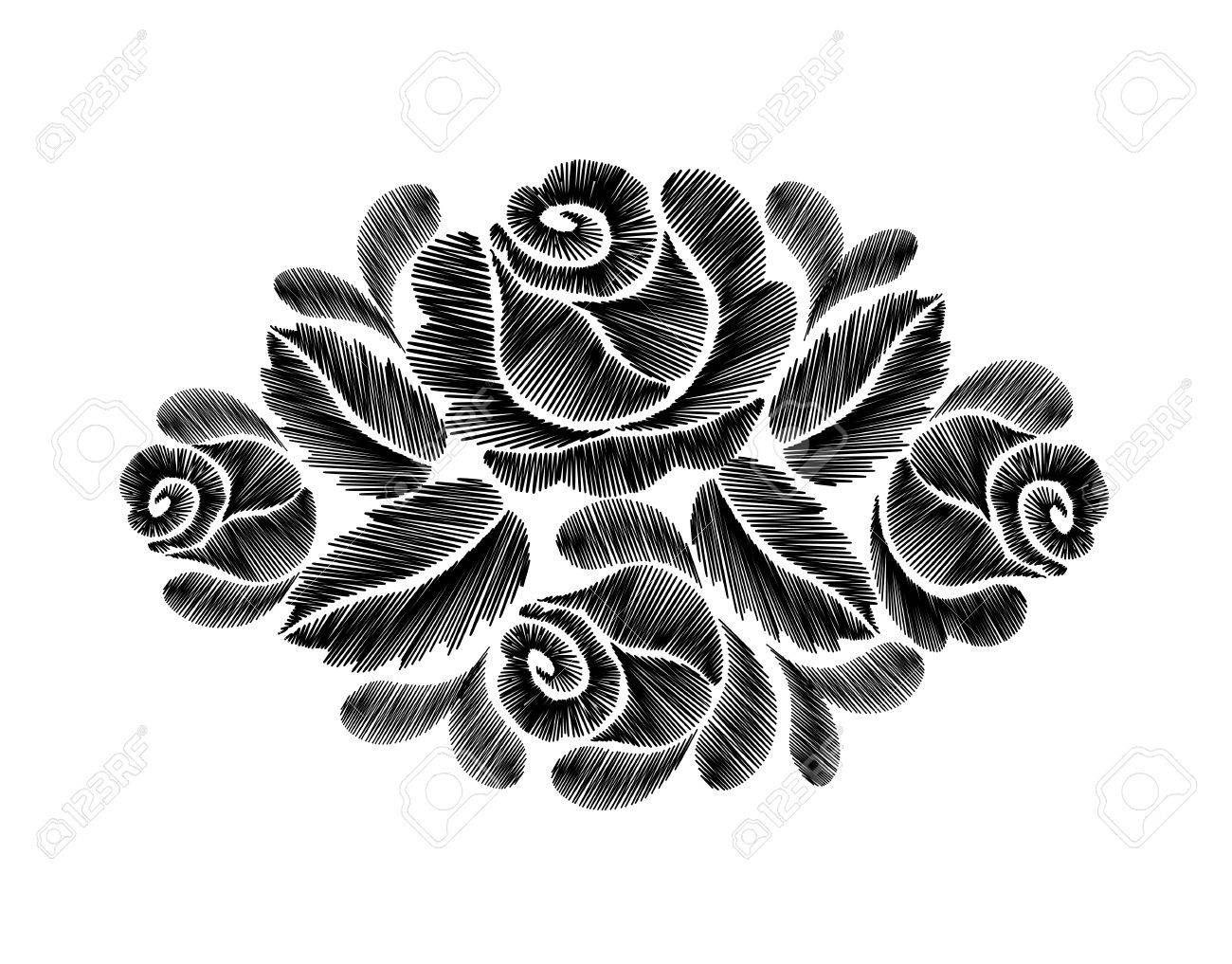 Black Roses Embroidery On White Background Ethnic Flowers Neck Line Flower Design Graphics Fashion Wearing