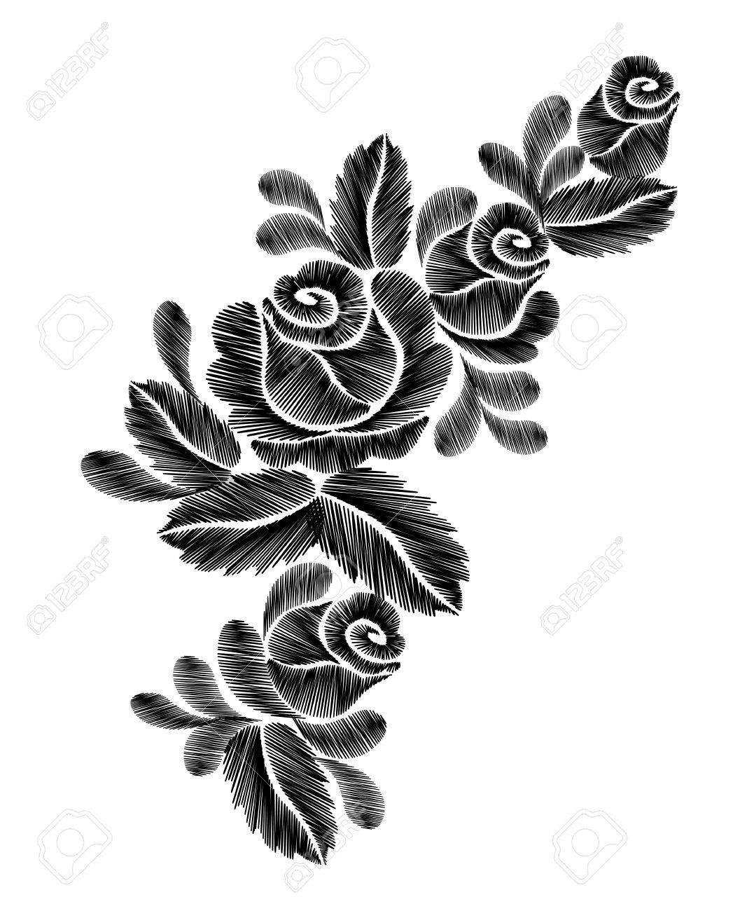 Black Roses Embroidery On White Background Ethnic Flowers Neck