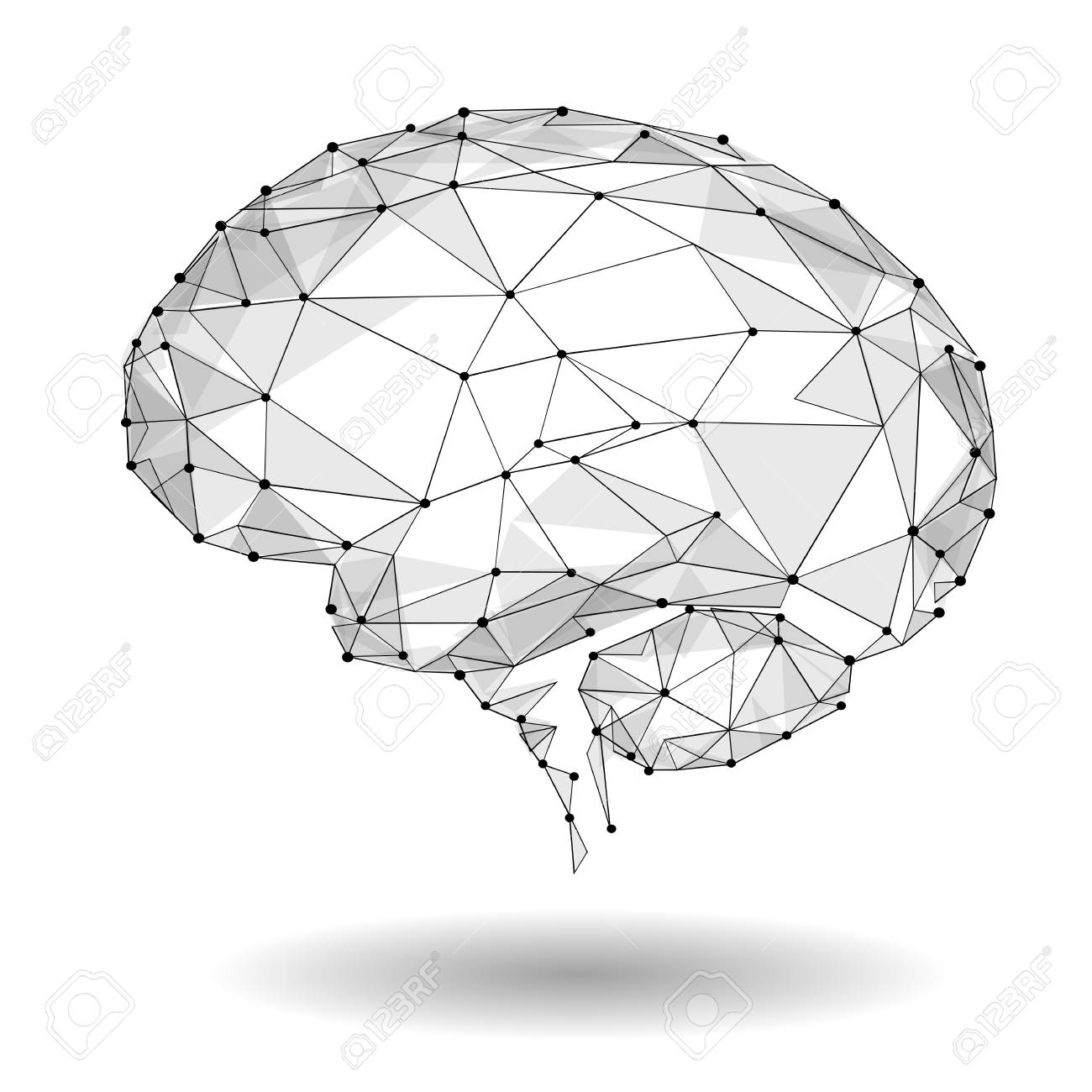 Concept of Active Human Brain with Binary Code Stream. Human Brain Covered with fall of Binary Numbers. - 75093713