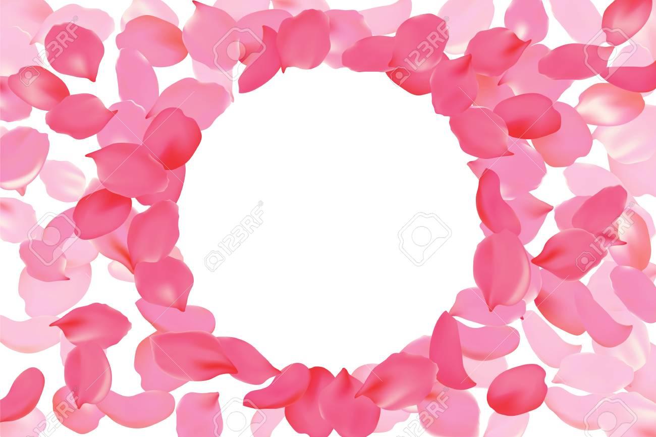 Bright Pink Rose Petal Frame Round Circle Background Flower