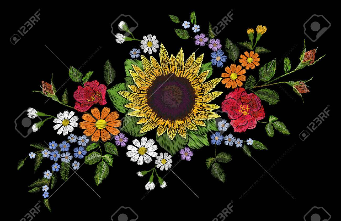 Embroidery Flower Bouquet Sunflower Dog Rose Briar Daisy Forget-me ...