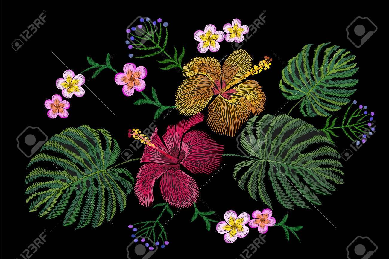 Arreglo Floral Tropical Del Bordado Flor Exótica Planta Verano Selva Parche Textil Estampado De Moda Arte Del Ejemplo Del Vector Del Monstera Del