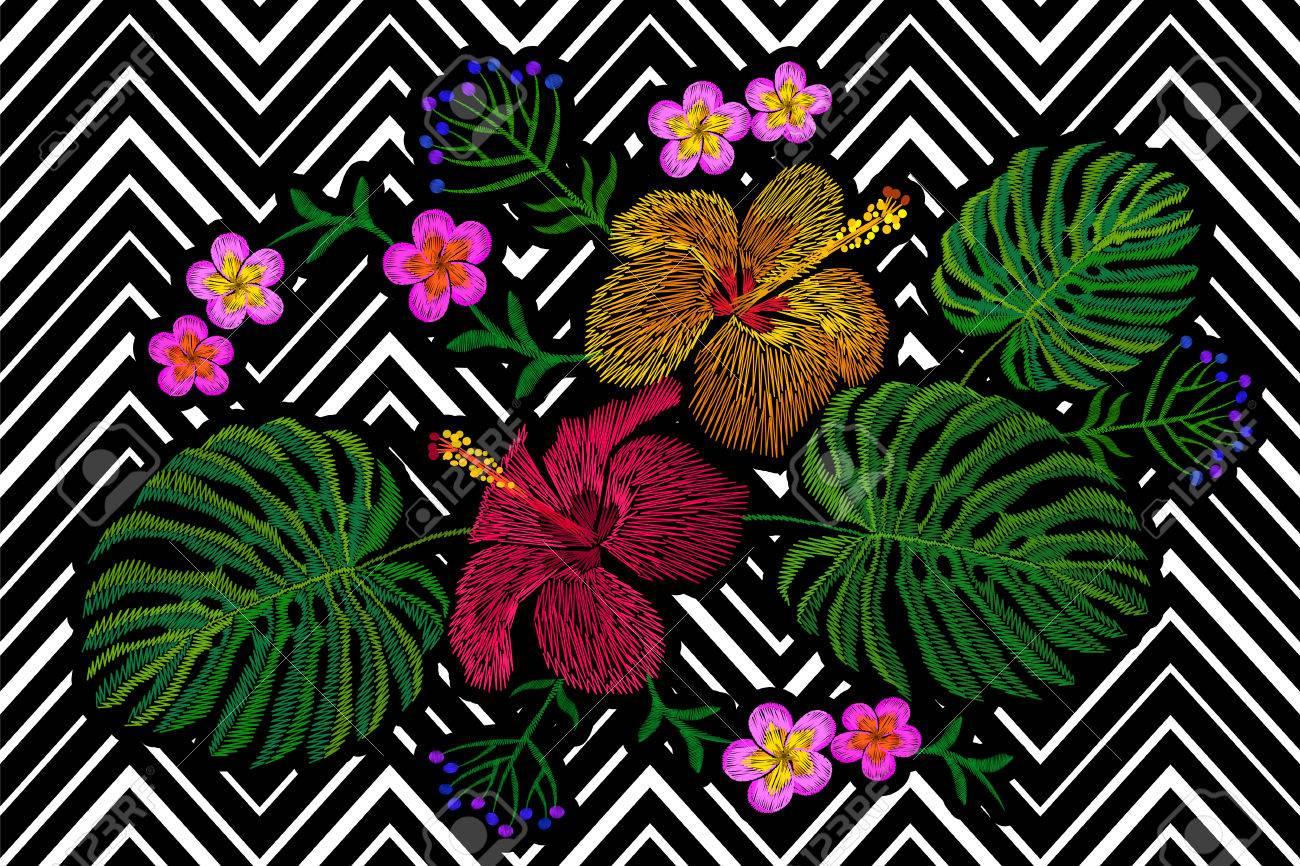 Arreglo Floral Tropical Del Bordado Exótica Flor De La Planta Selva De Verano Parche De Textiles De Impresión De Moda Hawai Hibisco Plumeria