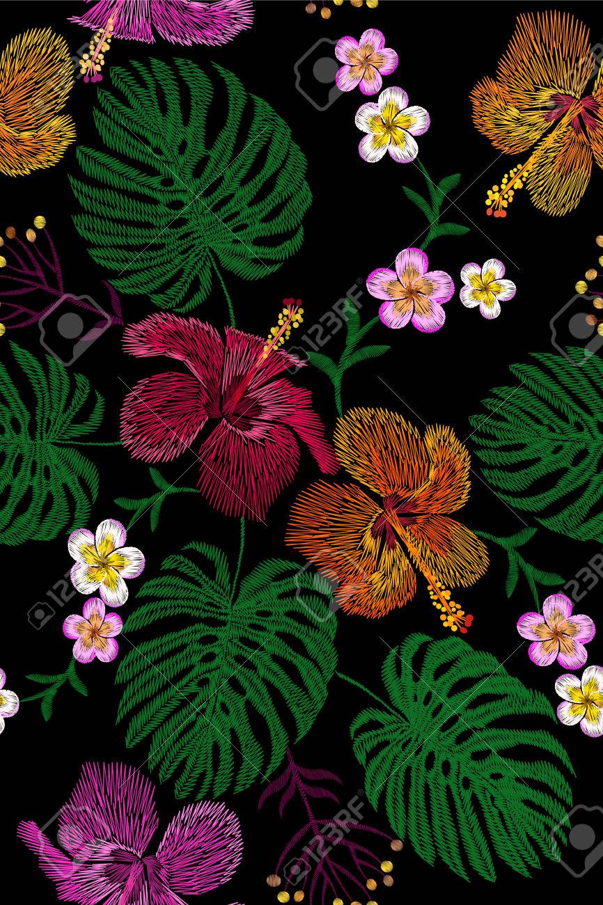 Tropical Embroidery Flower Arrangement Exotic Plant Blossom
