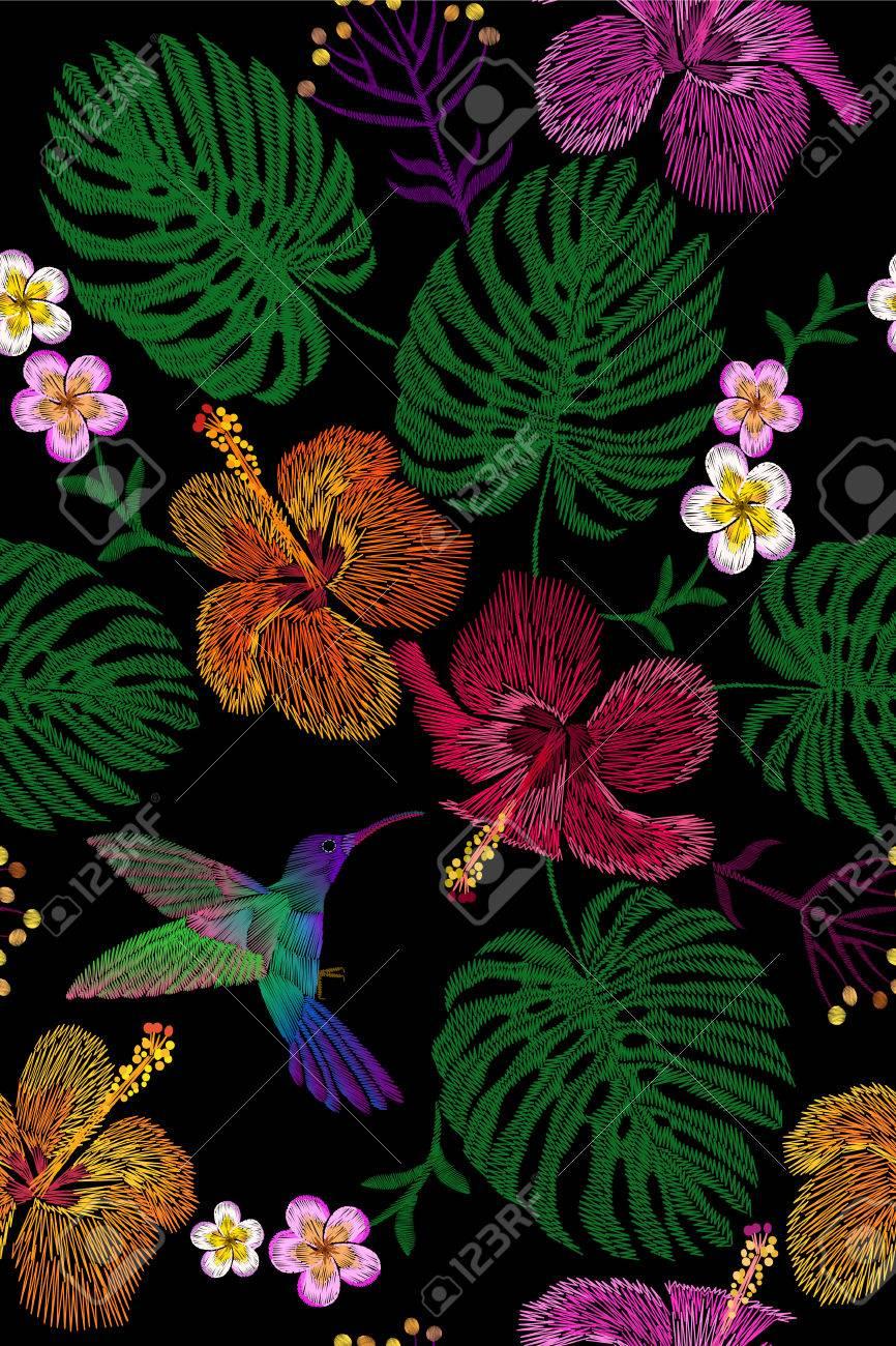 Arreglo Floral Tropical Del Bordado Exótica Flor De La Planta Selva De Verano Remiendo De La Materia Textil De La Impresión De La Manera Hawai