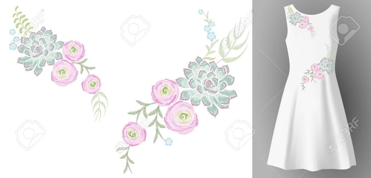 白人女性のドレス 3 d 現実的なモックアップ花刺繍ファッション装飾。花多肉ラナンキュラス ユーカリ パッチ ネック プリント繊維ベクトル図