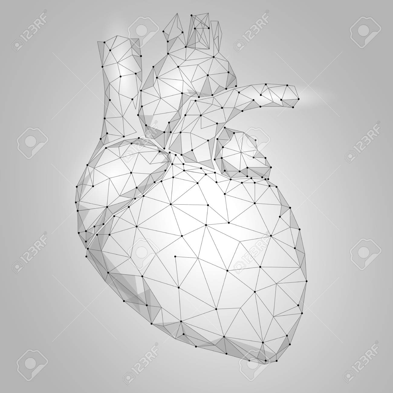 Human Heart Internal Organ Triangle Low Poly  Connected dots
