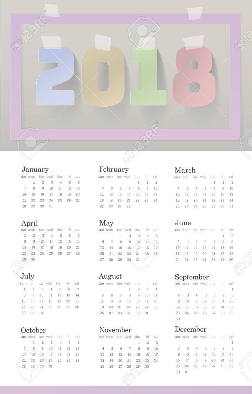 2018 Calendar Template Week Starts Sunday Set Of 12 Months