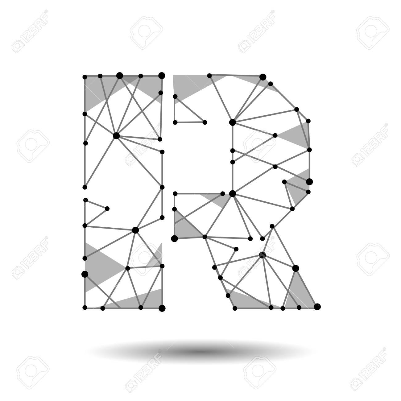 Low poly letter r english latin polygonal triangle connect dot low poly letter r english latin polygonal triangle connect dot point line black white altavistaventures Images