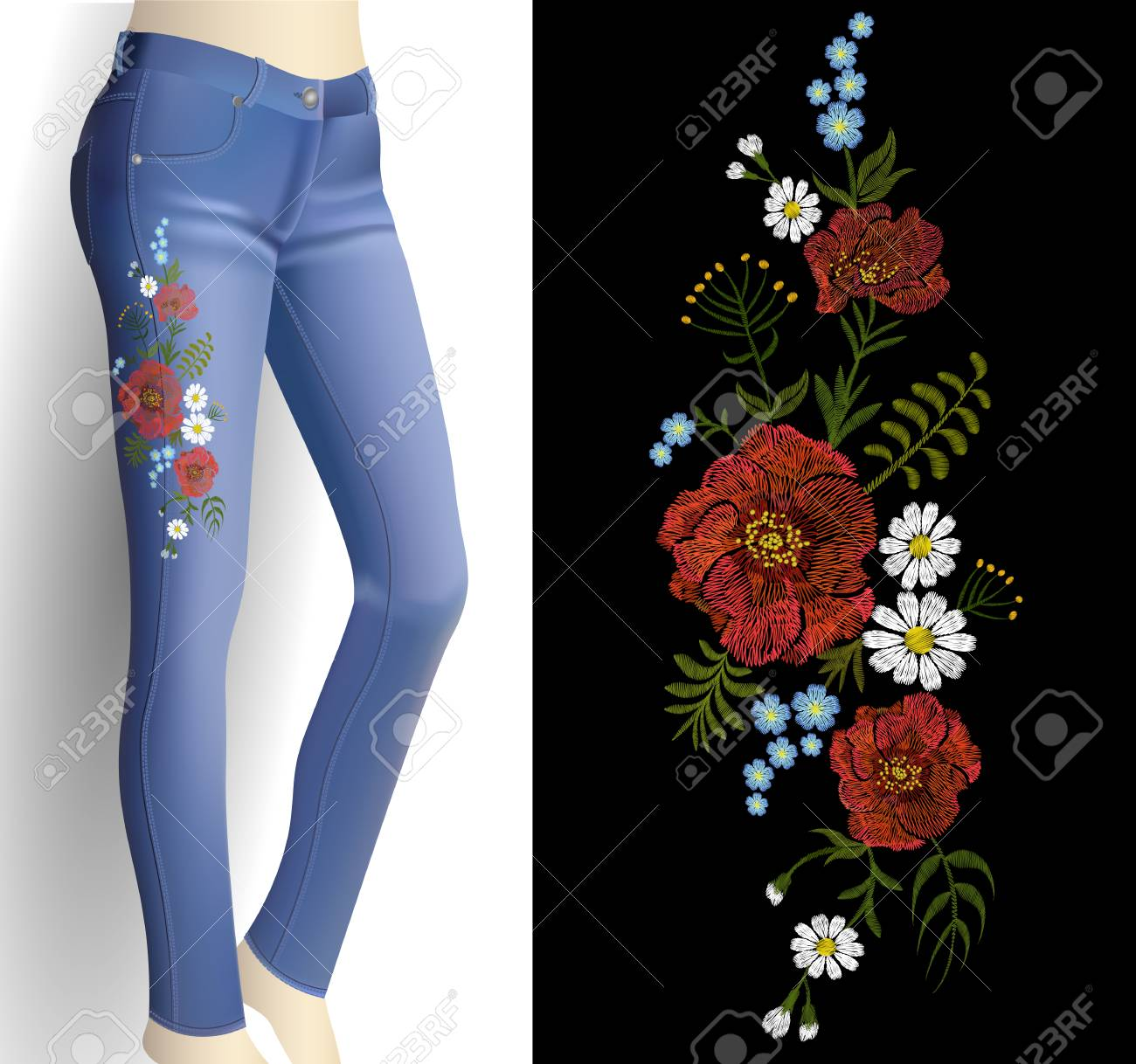 Flower embroidery on woman blue jeans 3d mockup  Fashion outfit