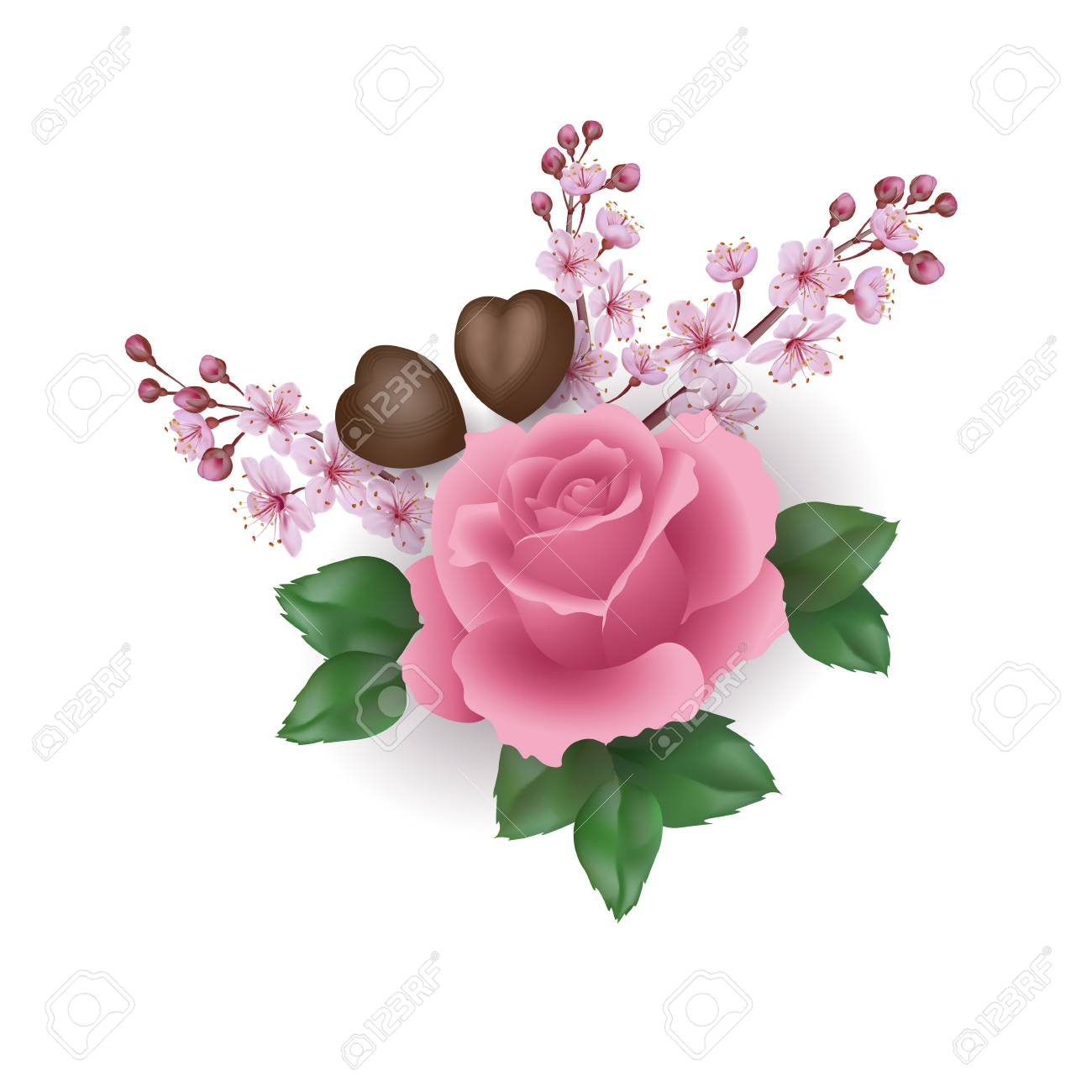 Realistic Valentine Day 3d Set Rose Flower Chocolate Sakura Blossom Royalty Free Cliparts Vectors And Stock Illustration Image 91670950