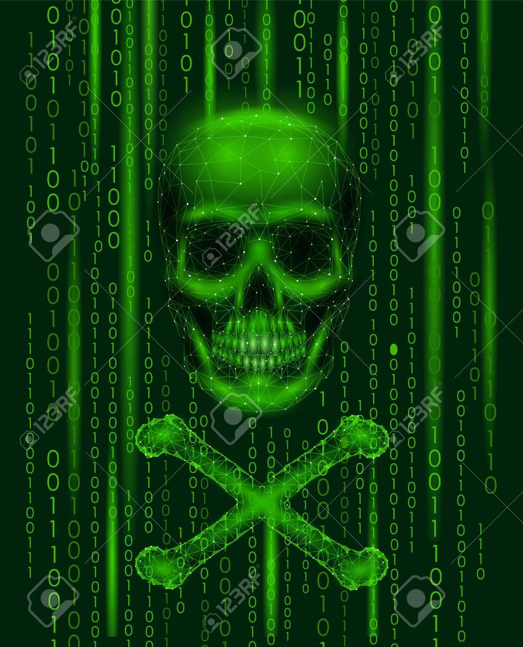 Jolly roger skull binary code numbers  Hacker piracy computer