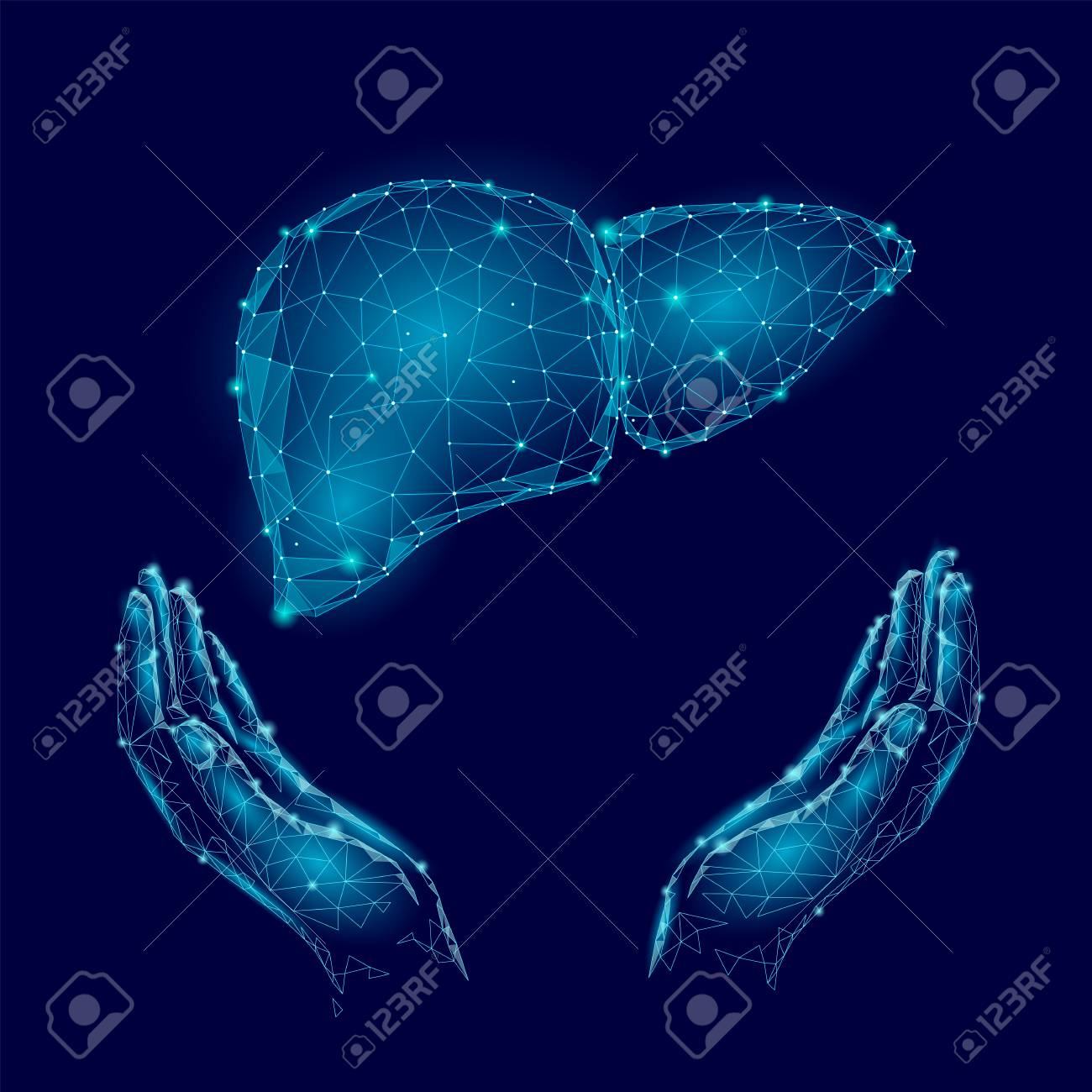 World Hepatitis Day awareness with human hands and liver in blue background - 97047929