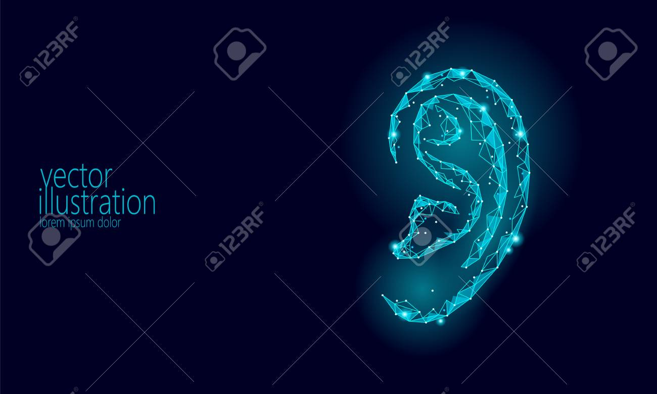 World Deaf Hearing Day. Human ear organ low poly. Polygonal triangle point line particle futuristic innovation medical center aid prevention awareness vector illustration poster art - 98849194