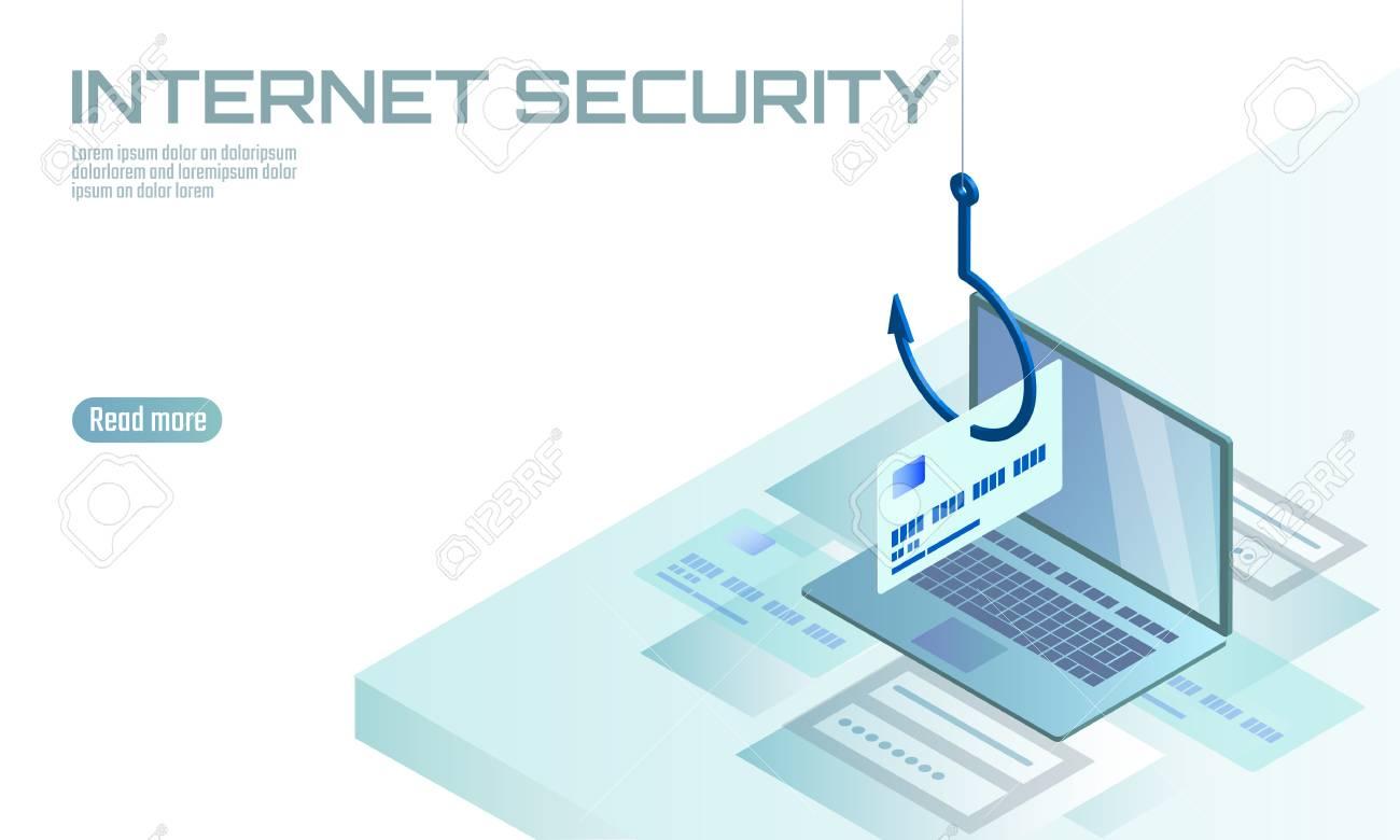 Isometric 3D laptop credit card cvv password phishing  Personal
