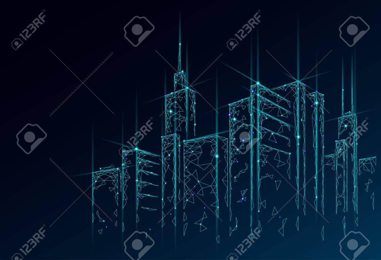 low poly smart city 3d wire mesh intelligent building automationlow poly smart city 3d wire mesh intelligent building automation system business concept web