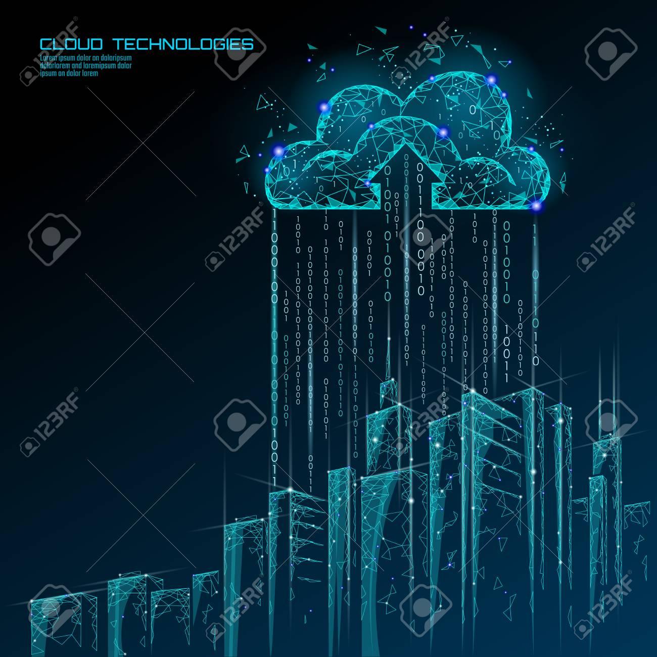 Smart city 3D light cloud computing cityscape. Intelligent building big data exchange storage online futuristic business concept future technology. Urban banner vector illustration art - 113746162
