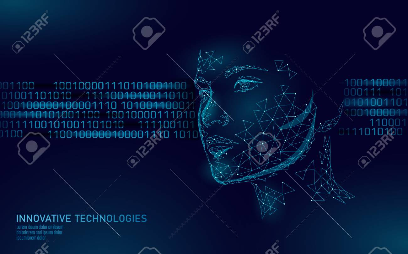 Low poly female human face biometric identification. Recognition system concept. Personal data secure access scanning innovation technology. 3D polygonal rendering vector illustration - 117103842