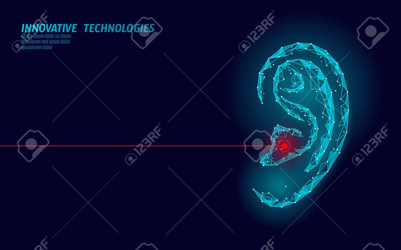 World Deaf Hearing Day. Human ear organ low poly. Polygonal triangle point line particle futuristic innovation medical center aid prevention awareness vector illustration poster - 117103846