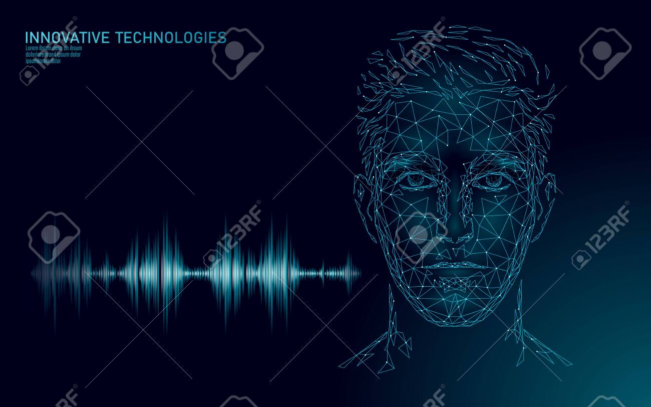 Virtual assistant voice recognition service technology. AI artificial intelligence robot support. Chatbot male man face low poly vector illustration - 123885946