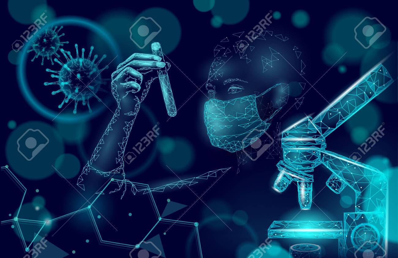 Woman doctor scientists hold test tube. Safety medical mask virus microscope vaccine. Developing pandemic coronavirus pneumonia treatment. Healthcare immunization research vector illustration - 142284665