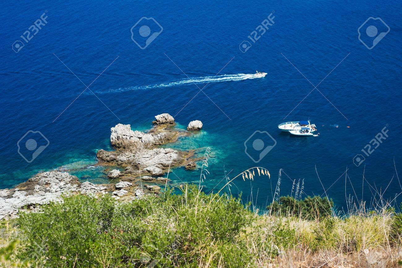 mediterranean blue sea, scily - 55047833