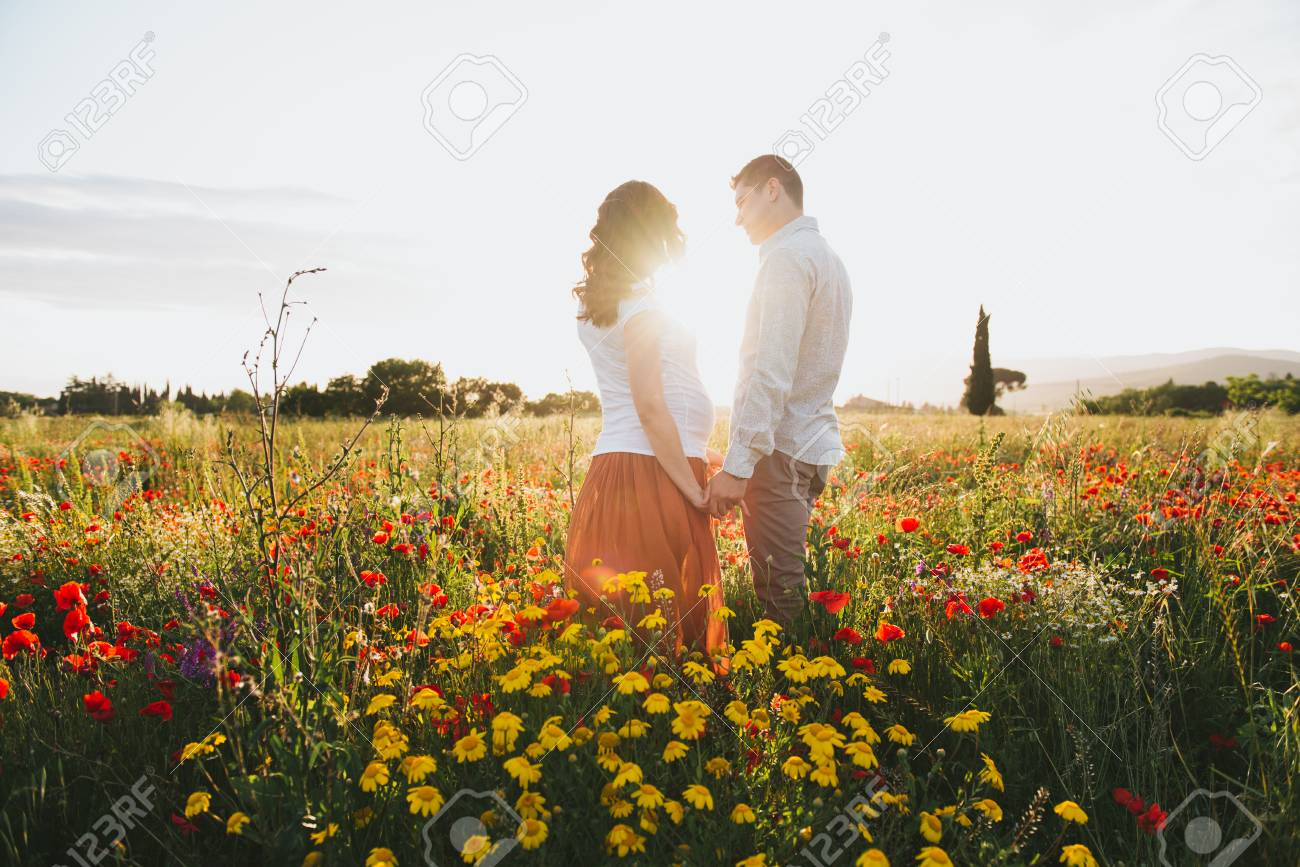 Theme Romantic Couple Pregnancy Outdoors Stock Photo Picture And